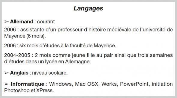 ecrire un cv langues