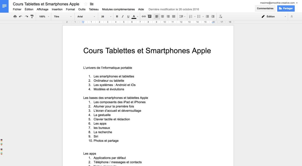ecrire un cv sur tablette