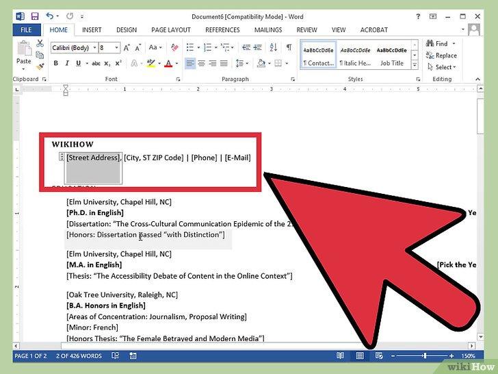 ecrire un cv sur word 2007
