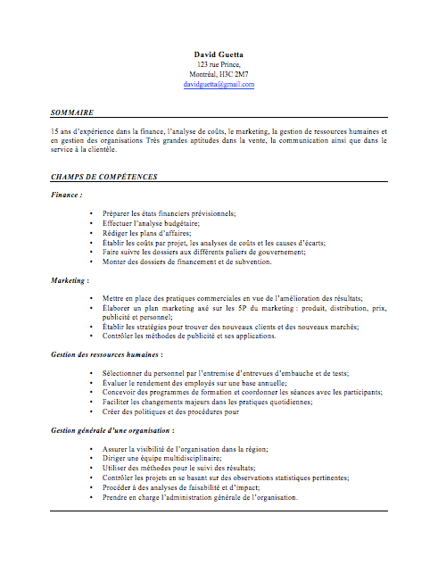 faire un cv quand on est en poste