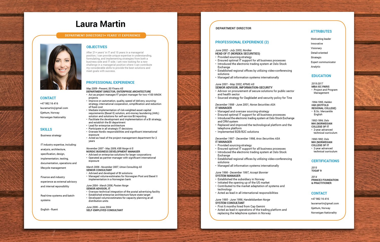 faire un cv sur 2 pages
