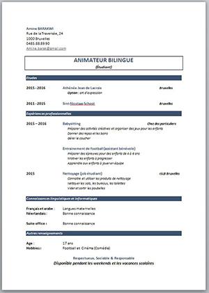 rediger un cv etudiant pdf